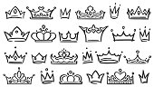 Hand drawn crown. Luxury crowns sketch, queen or king coronation doodle and majestic princess tiara. Monarchs queen diadem, ink tiara royalty logo. Isolated vector illustration symbols set
