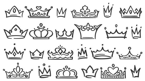 illustrations, cliparts, dessins animés et icônes de couronne dessinée à la main. croquis de couronnes de luxe, reine ou roi couronnement doodle et majestueux diadème de princesse isolé vecteur illustration ensemble - diademe