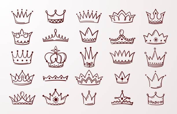 Hand drawn crown set. Sketch queen or king beauty doodle crowns. Vector vintage ink Jewel tiara isolated icons Hand drawn crown set. Sketch queen or king beauty doodle crowns. Vector image vintage ink Jewel tiara isolated icons diademe stock illustrations