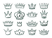 Hand drawn crown. Sketch crowns queen coronet simple elegant black crowning vintage coronal icons majestic tiara isolated vector