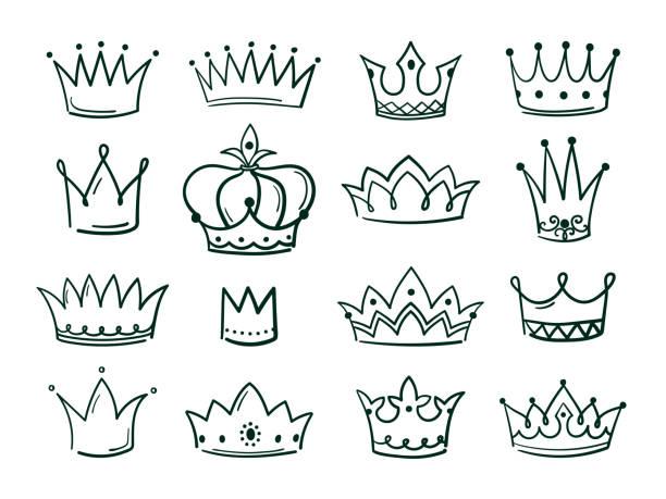 illustrations, cliparts, dessins animés et icônes de couronne dessinée à la main. croquis couronnes reine coronet simple élégant noir couronnement vintage coronale icônes majestueux diadème isolé vecteur - diademe