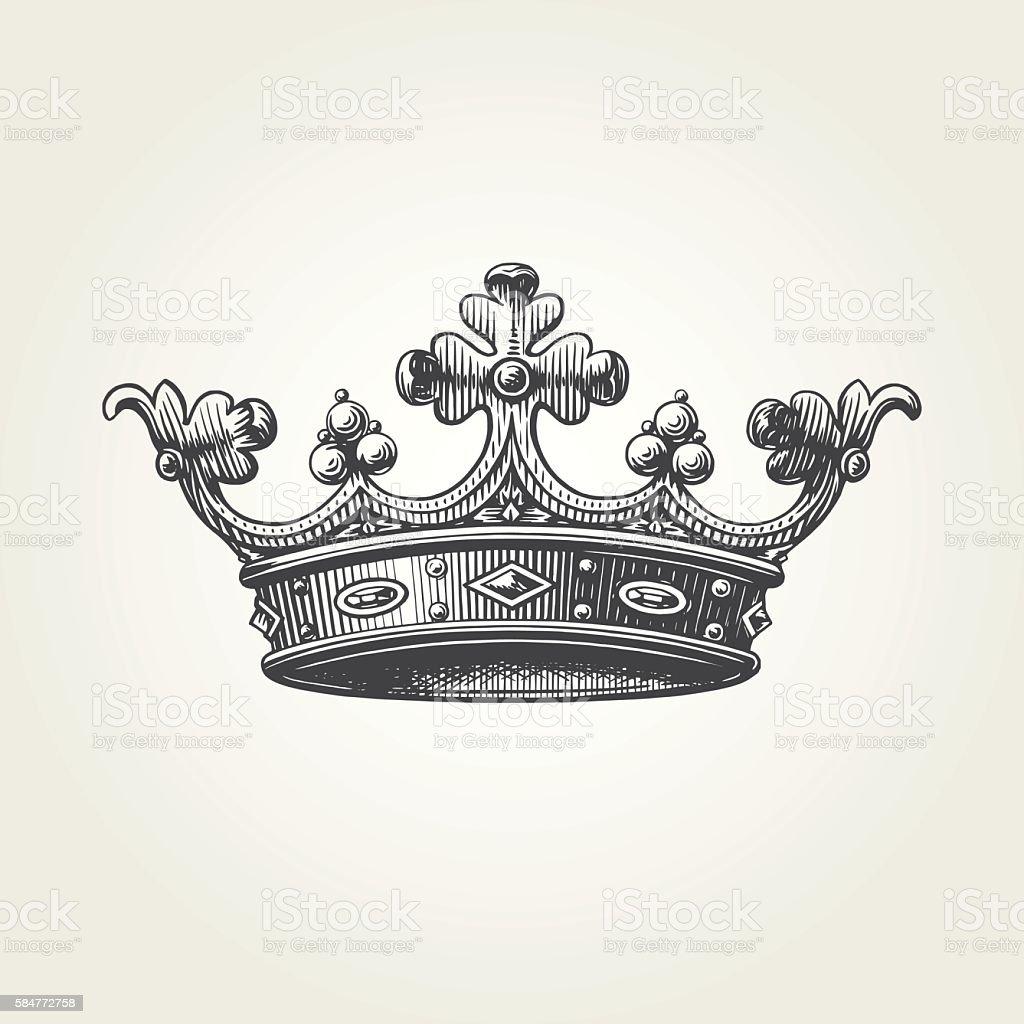 Réalisées à la main couronne - clipart vectoriel de Antiquités libre de droits
