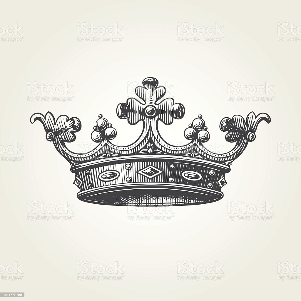 Hand drawn crown vector art illustration