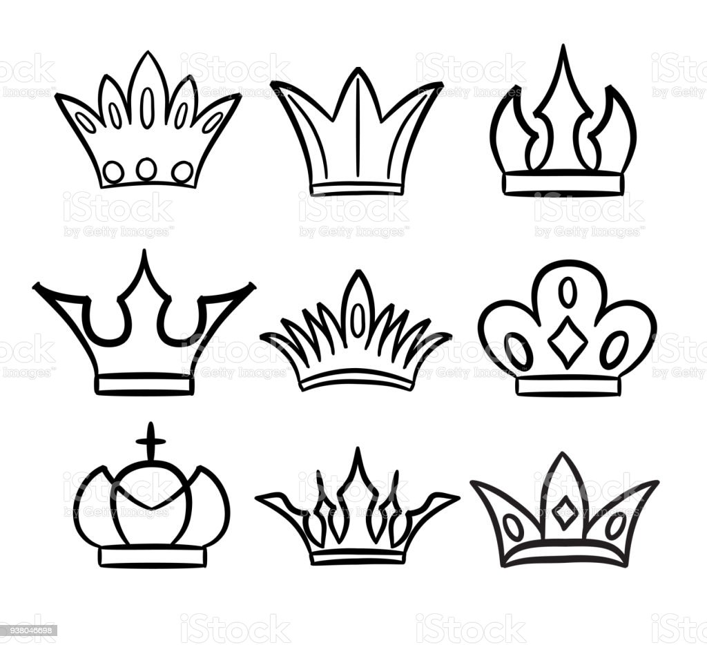 Hand Drawn Crowns Logo And Icon Collection Stock Illustration