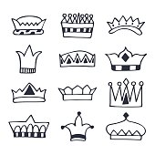 Hand drawn crowns set. Sketch crowns collection