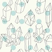 Vector seamless pattern with hand drawn crystals.