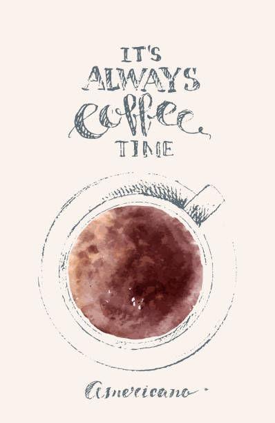 Hand drawn cup of black coffee, top view. Pencil sketch with watercolor stain. vector art illustration