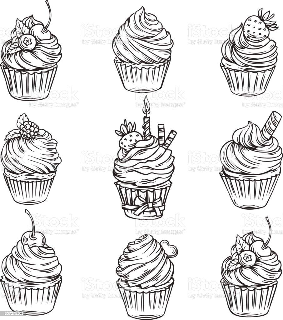 hand gezeichnet cupcakes stock vektor art und mehr bilder von ausstechform 807273302 istock. Black Bedroom Furniture Sets. Home Design Ideas