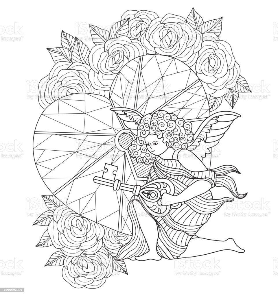 Hand Getekend Cupido En Hart Sleutel Voor Volwassen Kleurplaat