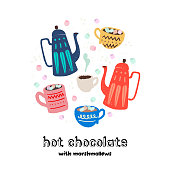Set of cartoon pots, cups and mug with lettering inscription hot chocolate with marshmallows. Colorful flat images for tea time and coffee breaks. Warming and cozy poster, card, sign. Vector clipart