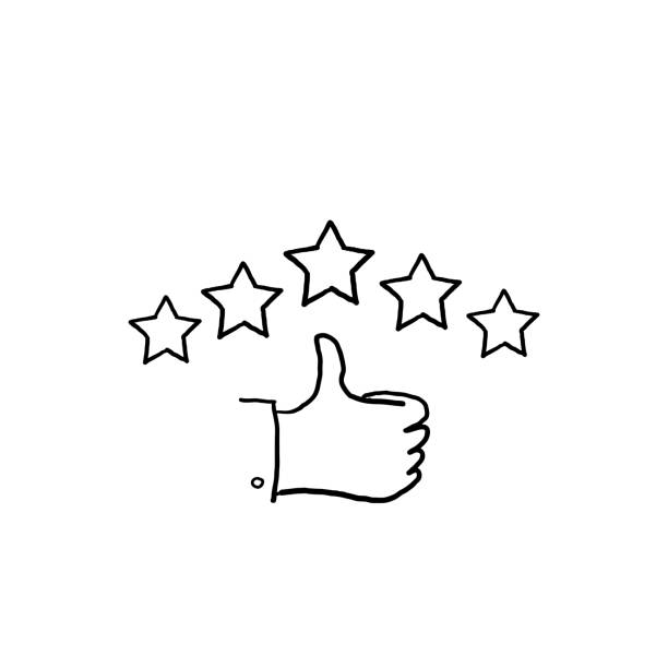 hand drawn customer review icon, quality rating, feedback, five stars line symbol on white background doodle hand drawn customer review icon, quality rating, feedback, five stars line symbol on white background doodle infamous stock illustrations