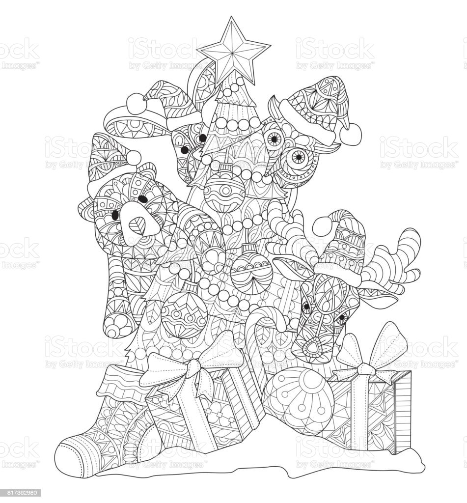 hand drawn cute animals and christmas tree for adult