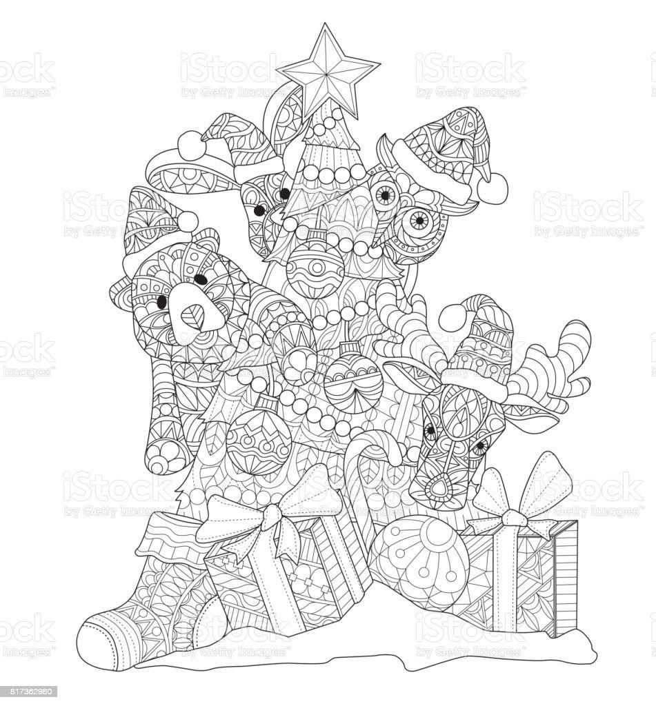 Hand dras söta djur och julgran för vuxen målarbok. vektorkonstillustration