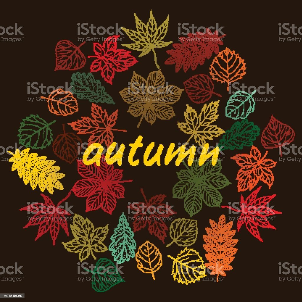 Hand drawn cute autumn leaves. Tiny and colorful. vector art illustration