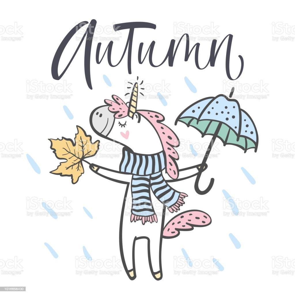 Hand Drawn Cute Autumn Unicorn Isolated On White Background Design