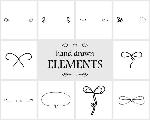 Mano dibuja arcos y bordes lindos separadores flecha - ilustración de arte vectorial