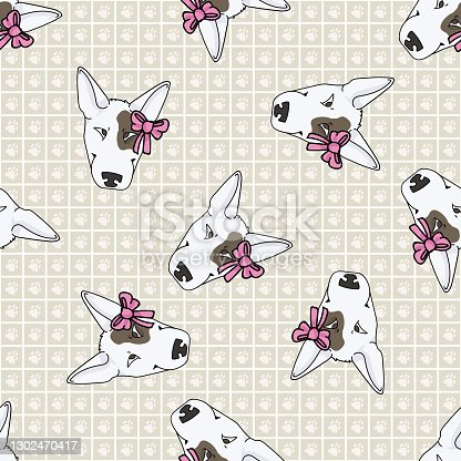 istock Hand drawn cute bull terrier dog breed seamless vector pattern. Purebred pedigree show dog puppy domestic on background. Dog lover pooch pet all over print. Kennel hound. EPS 10. 1302470417