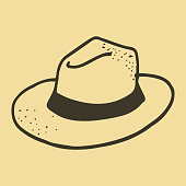 Hand Drawn Cute Doodle Icons of Hat Illustrations design