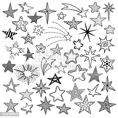 Hand drawn doodle stars and comets icons collection. Kids style sketches. Vector illustration
