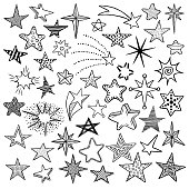 Hand drawn cute doodle stars and comets icons collection. Kids style sketches. Vector illustration