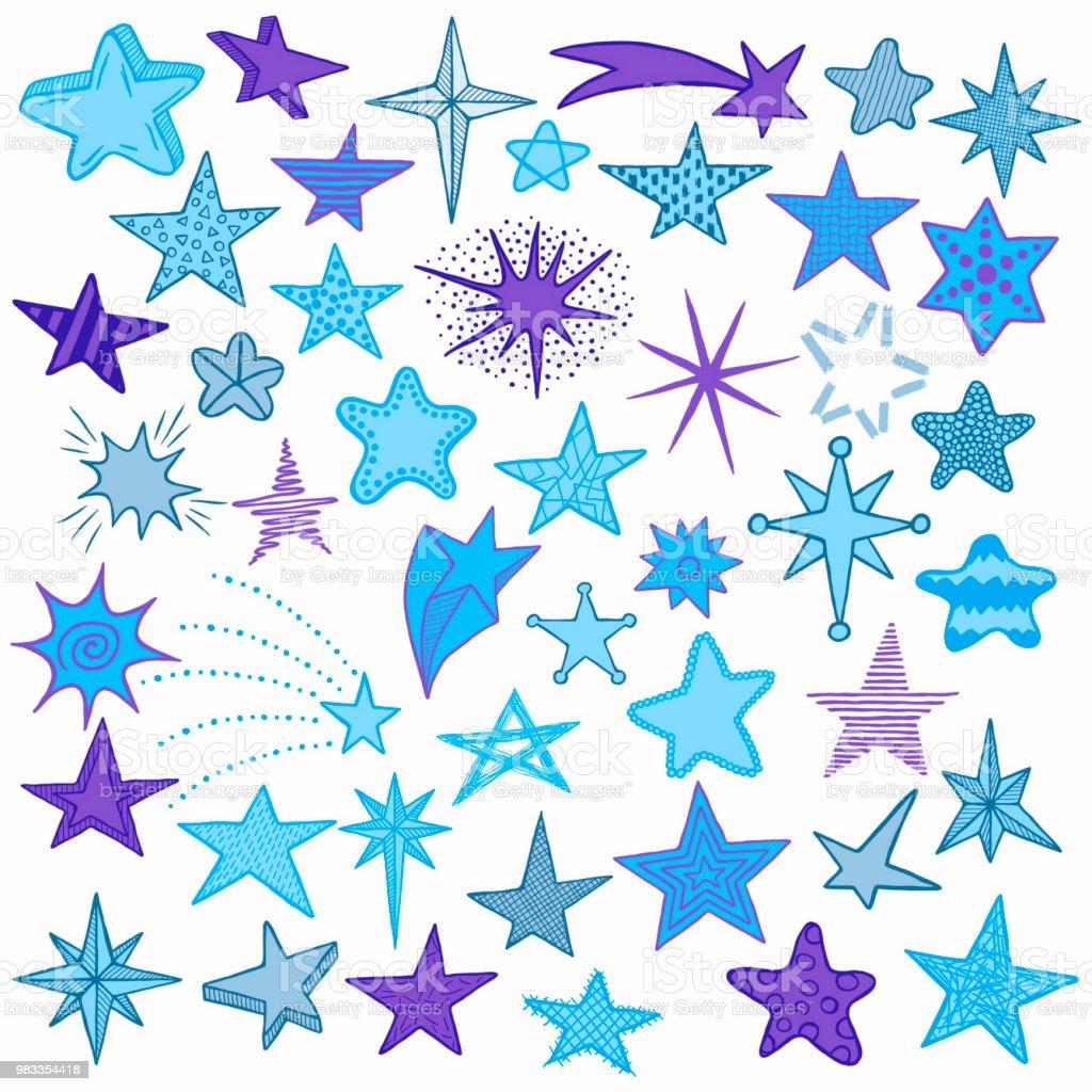 Ilustración de Colección De Iconos De Estrellas Y Cometas Doodle ...