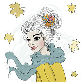 Hand drawn cute fashion autumn girl. Vector illustration. Portrait of a young woman with long hair. autumn leaves.