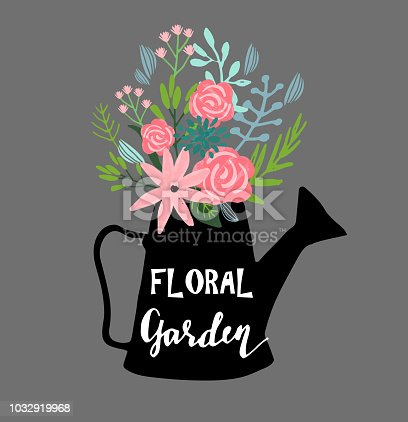 Hand drawn cute floral in watering can logo template with sample text vector