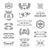 A set of 15 hand sketched logos or design elements for greeting cards, websites, wedding invitations etc.
