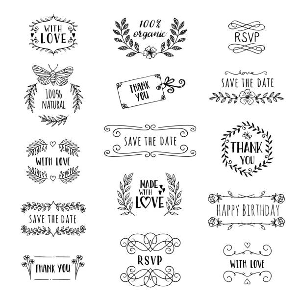 Hand drawn cute floral logo templates with various text vector art illustration
