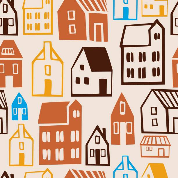 ilustrações, clipart, desenhos animados e ícones de casas bonitas desenhadas à mão.  padrão sem emenda do vetor. - conceitos e temas