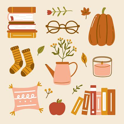 Hand drawn cute hygge autumn home cozy elements Scandinavian style book socks pillow candle leaves flower apple eyeglasses pumpkins fall season illustration