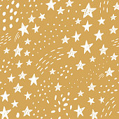 Hand drawn cute kids abstract seamless pattern. Stars space simple background