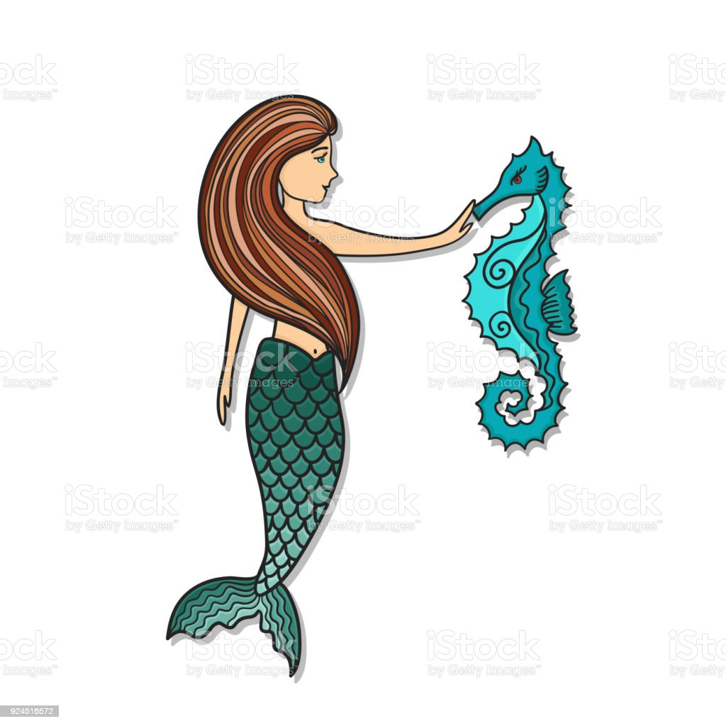 Hand Drawn Cute Little Mermaid With Sea Horse Stock Illustration Download Image Now Istock
