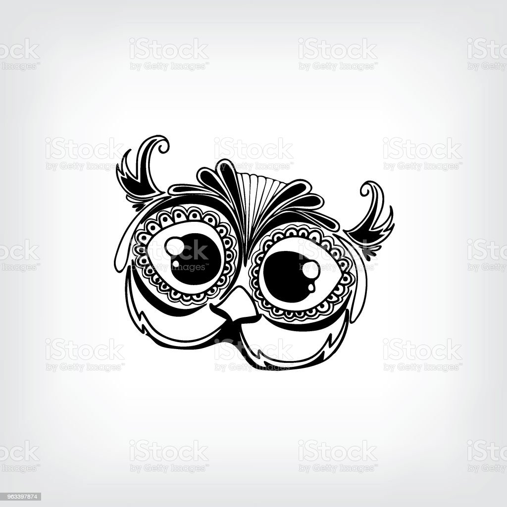 Hand drawn cute owl portrait for adult coloring page - Illustration - Grafika wektorowa royalty-free (Abstrakcja)