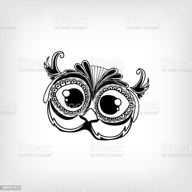 Ręcznie Rysowane Cute Portret Sowy Dla Dorosłych Kolorowanki Strony Ilustracja - Stockowe grafiki wektorowe i więcej obrazów Abstrakcja