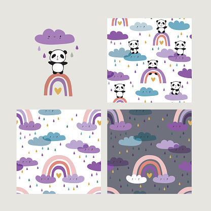 Hand drawn cute pandas on rainbows.