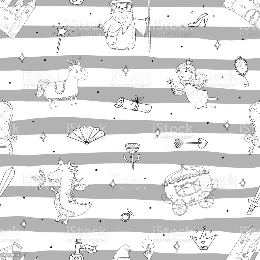 Hand drawn Cute seamless pattern with castle in cartoon royalty-free hand drawn cute seamless pattern with castle in cartoon stock vector art & more images of animal