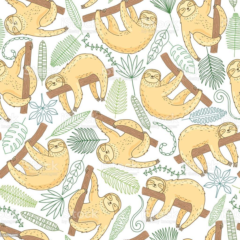 Hand drawn cute sloth seamless pattern vector art illustration