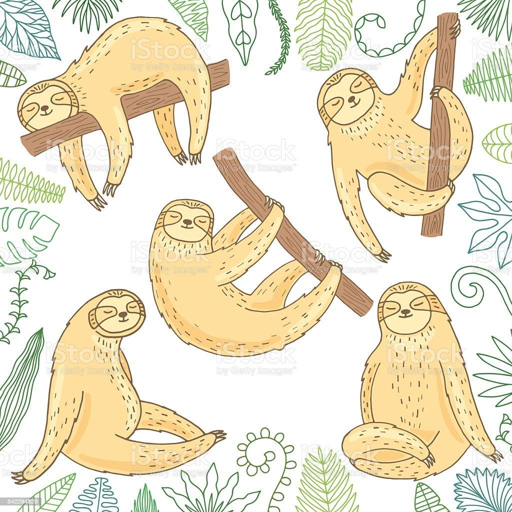 Hand drawn cute sloth set vector art illustration