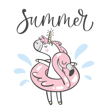 Hand drawn cute summer unicorn isolated on white background. Design element for greeting cards, t-shirt and other. Vector illustration.