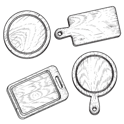 Hand drawn cutting wooden boards set. Sketch style kitchen utensils. Top view. Round and rectangular, with handle. Vector illustrations vintage collection.