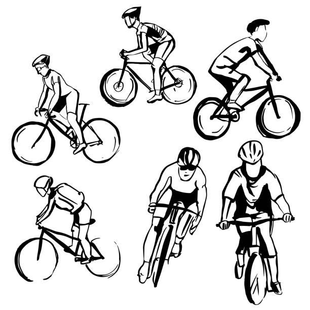 ilustraciones, imágenes clip art, dibujos animados e iconos de stock de ciclistas dibujados a mano. ilustración vectorial. - conceptos y temas