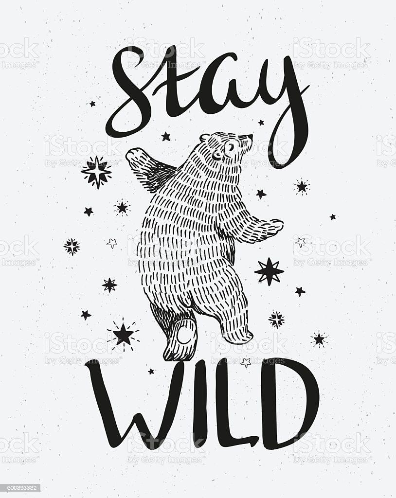 Hand drawn dancing bear. - Royalty-free Aaien vectorkunst
