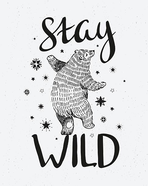 hand drawn dancing bear. - bohemian fashion stock illustrations, clip art, cartoons, & icons