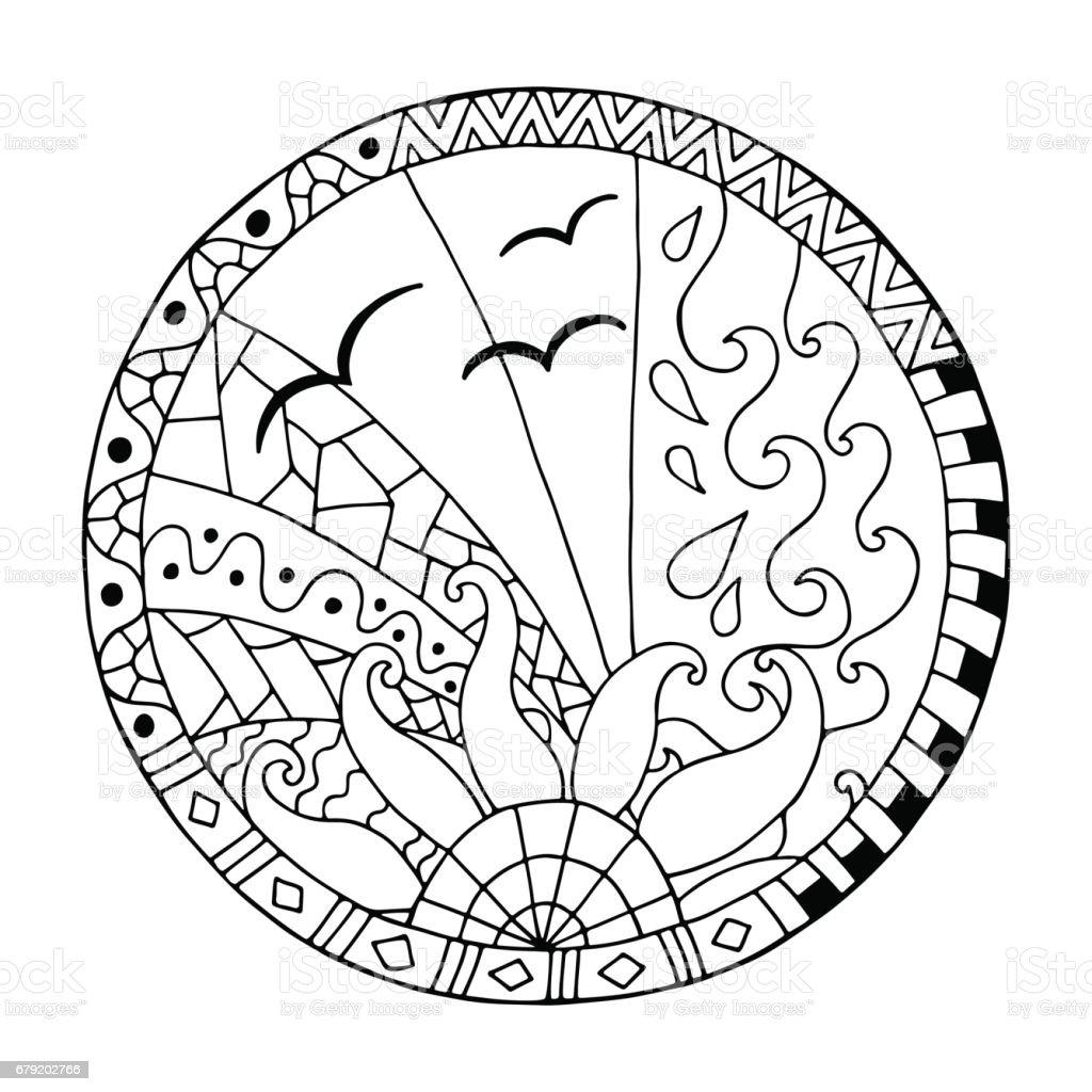Main sur mandala cercle de jour. main sur mandala cercle de jour – cliparts vectoriels et plus d'images de adolescent libre de droits