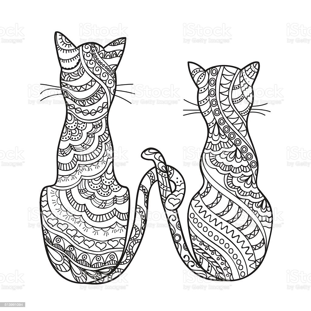 hand drawn decorated cartoon cats vector art illustration
