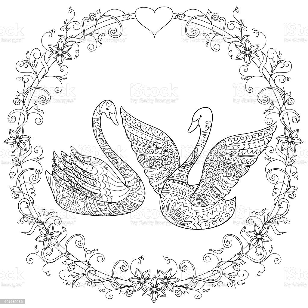 Hand drawn decorated couple swan into mandala arte - Mandala anniversaire ...