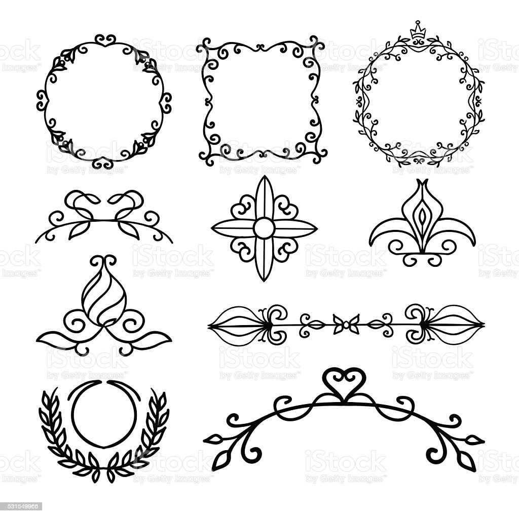 Hand drawn decoration elements frames page divider and for Decoration drawing