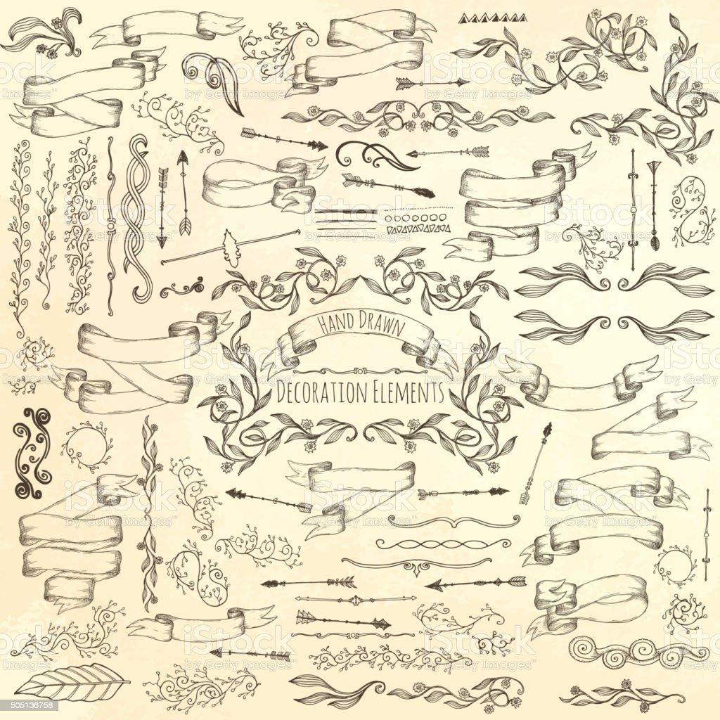 Hand drawn decoration elements. vector art illustration