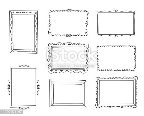 Hand drawn decorative frames set. Doodle style. Vectorillustration